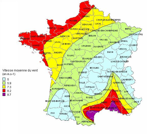 METEO10   Carte des vents dominants en France